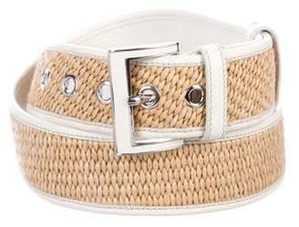 Prada Raffia Buckle Belt
