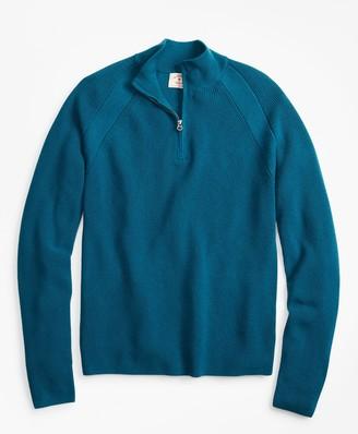 Brooks Brothers Half-Zip Merino Wool Ribbed Sweater