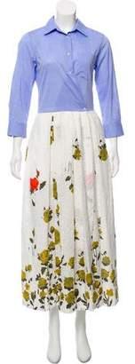 Sara Roka Floral Print Eyelet Maxi Dress