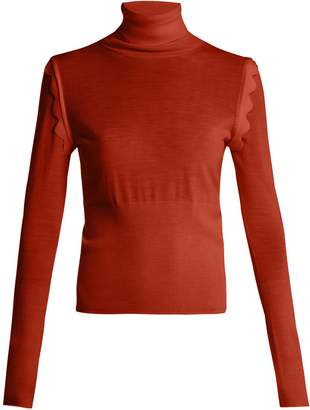 Chloé Scallop-trim roll-neck wool sweater