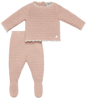 Carrera Pili Button Back Knit Top w/ Footed Leggings, Size 1-6 Months