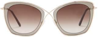 Tom Ford India Cat Eye Metal Sunglasses - Womens - Grey Multi