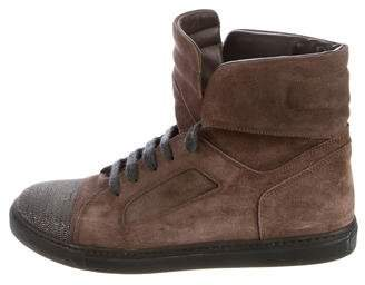 Brunello Cucinelli Suede Monili-Embellished Sneakers