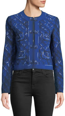 Moschino Quilt-Print Crewneck Blazer Jacket