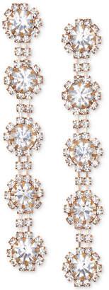 Badgley Mischka Crystal Flower Linear Drop Earrings