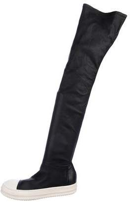 Rick Owens Leather Over-The-Knee Boots w/ Tags