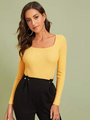Shein Solid Fitted Ribbed Sweater