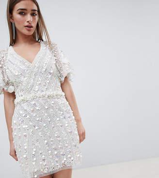 A Star Is Born Petite A Star is Born Petite Cape Mini Dress with Mermaid Embellishment