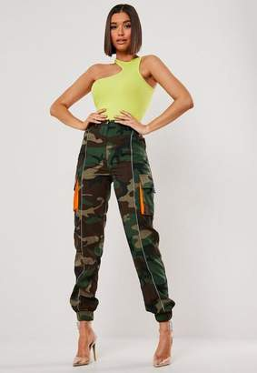 Missguided Khaki Camo Pocket Cargo Pants