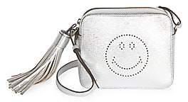 Anya Hindmarch Women's Perforated Smiley Metallic Leather Crossbody Bag