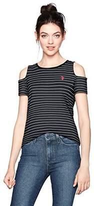 U.S. Polo Assn. Women's Striped Open Shoulder T-Shirt