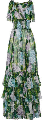 Dolce & Gabbana - Ruffled Floral-print Silk-chiffon Gown - Green $5,395 thestylecure.com