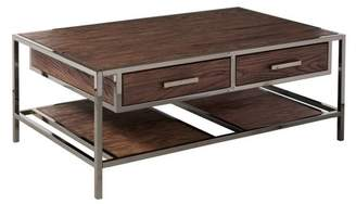 HomeFare Modern Industrial Style Chocolate Brown Wood and Smoked Metal Cocktail Table