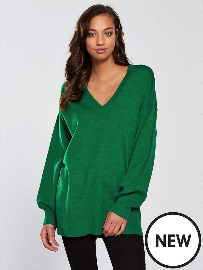 V-neck Blouson Sleeve Slouch Jumper - Green