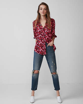 Express Slim Fit Floral Portofino Shirt