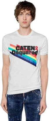 DSQUARED2 Caten2 Printed Cotton Jersey T-Shirt