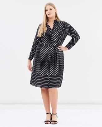 Evans Polka Dot Striped Shirt Midi Dress