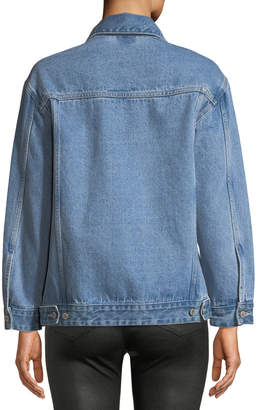 Neiman Marcus Victoria / Tomas Denim Jacket w/ Asymmetric Draped Detail