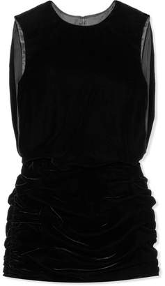 Saint Laurent Ruched Velvet Mini Dress - Black