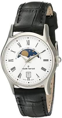 Claude Bernard Women's 39009 3 BR Classic Ladies Moon Phase Analog Display Swiss Quartz Black Watch