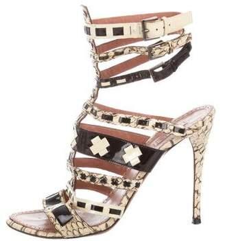 Alaia Snakeskin Round-Toe Sandals