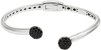 Black Spinel Sterling Silver Hinged Cuff Bracelet