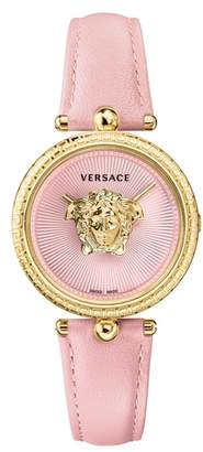 Versace Palazzo Empire Leather Strap Watch, 34mm