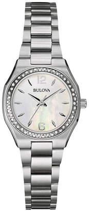 Bulova 26mm Bracelet Watch w/ Diamond Bezel & Iridescent Dial