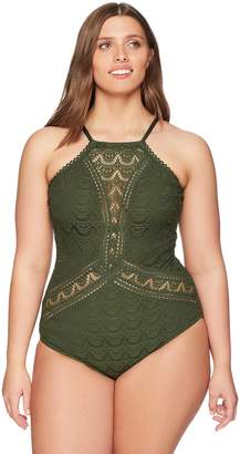 Becca Etc Women's Plus Size Color Play High Neck One Piece Swimsuit