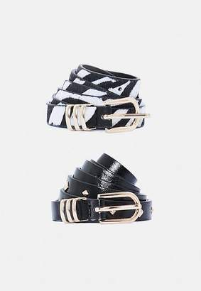 Missguided 2 Pack Zebra and Stud Belts