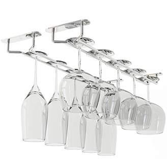 Wallniture Stemware Wine Glass Rack Hanger Under Cabinet Storage Chrome Finish 17 3/4 Inch Set of 2