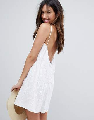 Asos DESIGN Low Back Mini Sundress in Heart Broderie