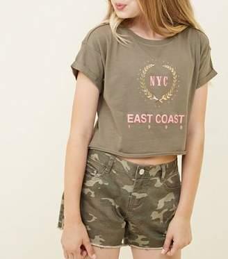New Look Girls Green Camo Print Denim Shorts