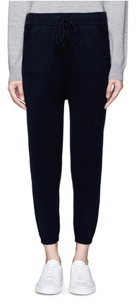 T By Alexander Wang Dropped crotch wool-cashmere knit jogging pants