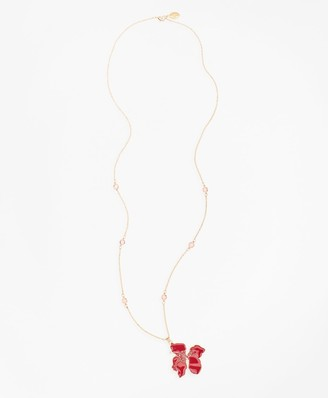 Brooks Brothers Gold-Plated Hibiscus Pendent Necklace