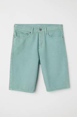 H&M Straight Denim Shorts - Turquoise