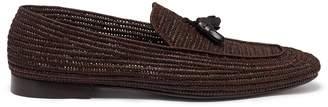 CASABLANCA 'Cesare' woven raffia tassel loafers