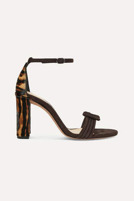 Alexandre Birman Vicky Knotted Leopard-print Calf Hair And Suede Sandals - Brown
