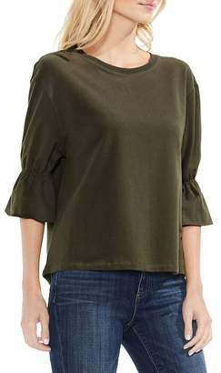 Vince Camuto Smocked Elbow Sleeve French Terry Top