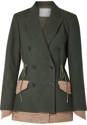 Sacai Piqué And Houndstooth Wool Blazer - Army green