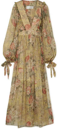 Zimmermann Melody Floral-print Silk-crepon Maxi Dress - Beige