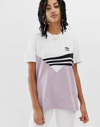 adidas Linear t-shirt in lilac and black