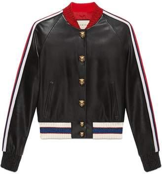 Leather Bomber Jacket Gucci - ShopStyle 812d5d8fc