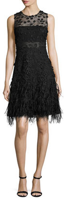 Elie Tahari Anabelle Sleeveless Lace Feathered A-Line Dress, Black $898 thestylecure.com