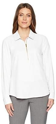 Lark & Ro Women's Modern Zip Popover Shirt