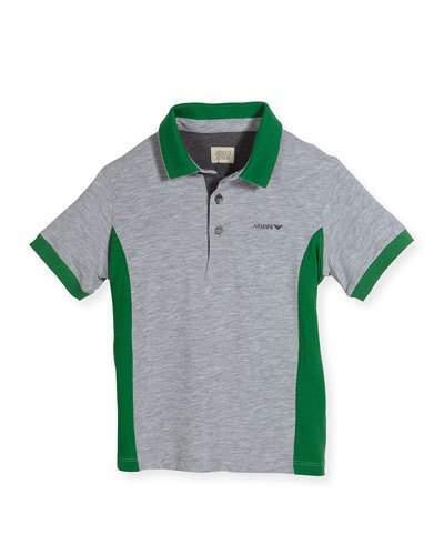 Armani JuniorArmani Junior Short-Sleeve Heathered Jersey Polo Shirt, Green/Gray