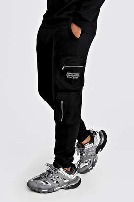 boohoo MAN Official Print Cargo Jogger With 3D Pockets