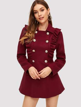 Shein Double Breasted Ruffle Trim Flared Trench Coat