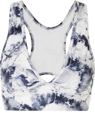 Varley Brooks Printed Stretch Sports Bra - White