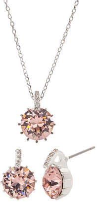 Swarovski CITY ROCKS City Rocks City Rocks Made With Elements 1/10 CT. T.W. Pink Silver Tone Pure Silver Over Brass 3-pc. Jewelry Set